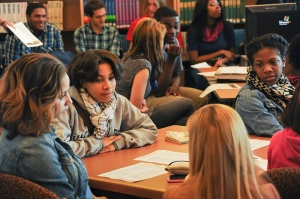 High school students meet and conduct class in their classroom. Students can learn much more outside the classroom. (Photo via Flickr/RDECOM)